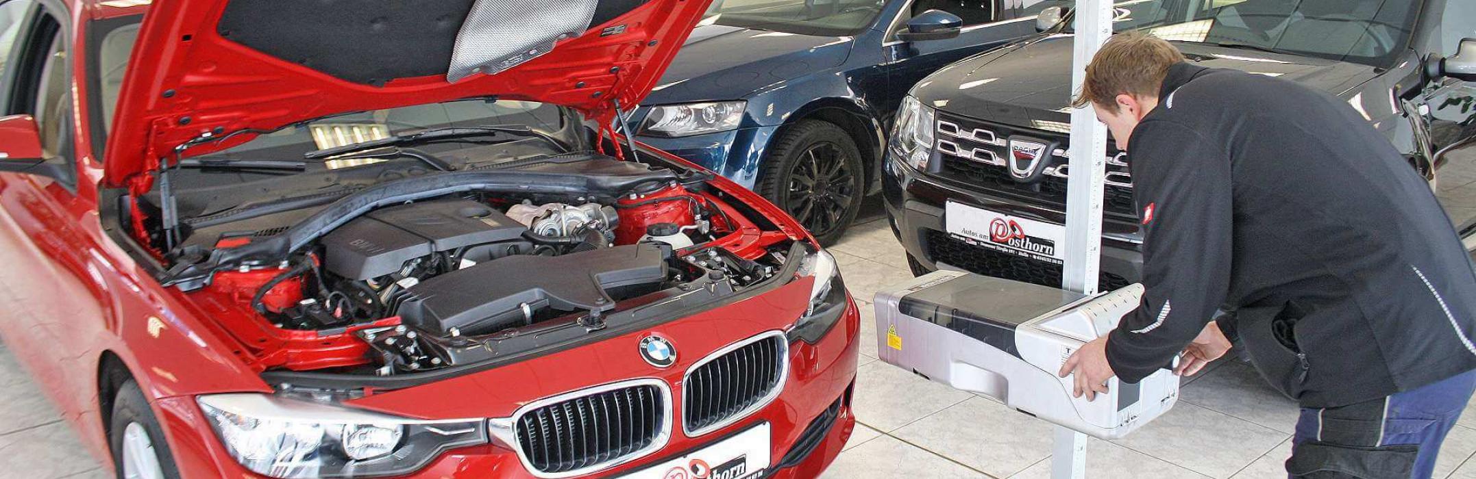 Der Lichttest wird in der Kfz Werkstatt von Autos am Posthorn durchgeführt